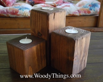 Wooden Pillar Votive Holders