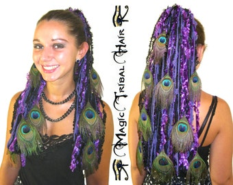 Purple YARN hair FALLS with PEACOCK feathers Tribal Fusion belly dance extensions Goth Lolita Reenactment ats Fantasy magician wicca