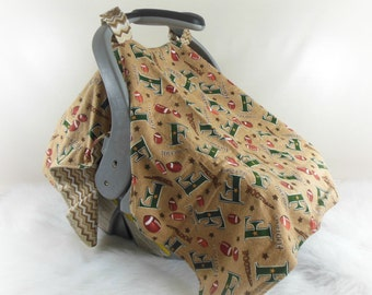 CLEARANCE 30% OFF--Car Seat Canopy, Car Seat Cover, Cart Cover, Blanket in Football & Chevrons