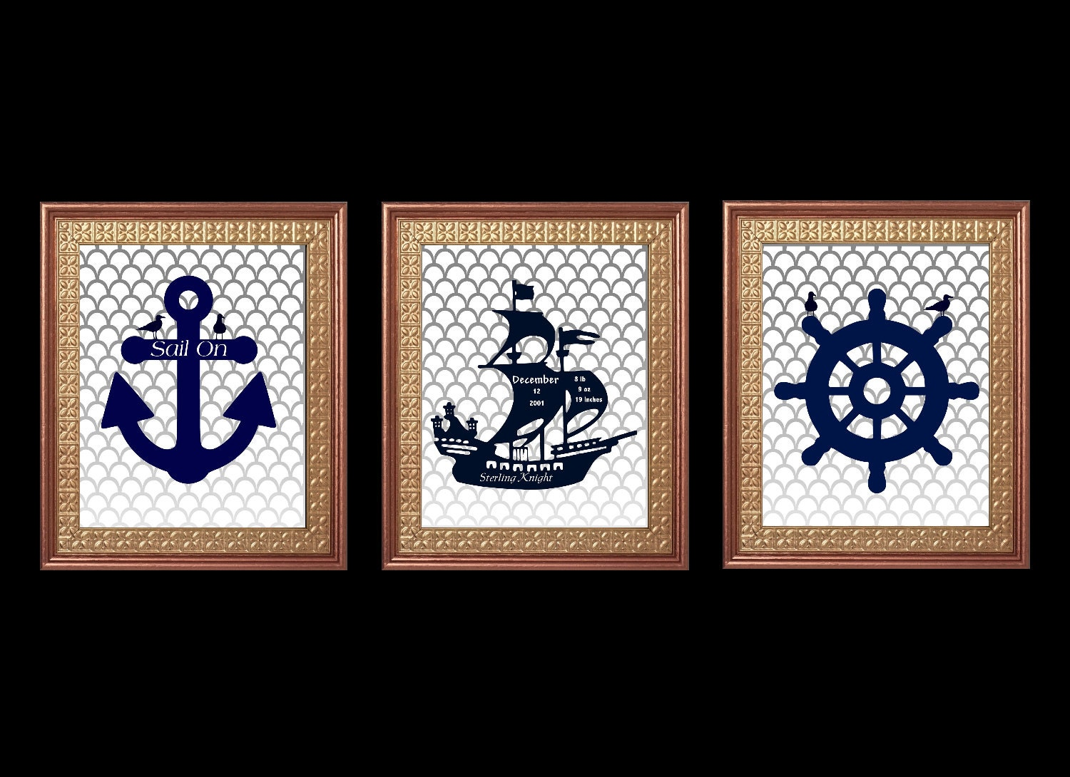 Nursery Wall Decor Set : Nautical nursery wall art set boy room decor