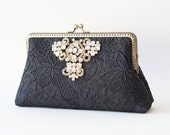 Cocktail clutch /  Black Lace clutch with Wristlet Chain / Formal purse / Bridal Accessories / Ready to ship