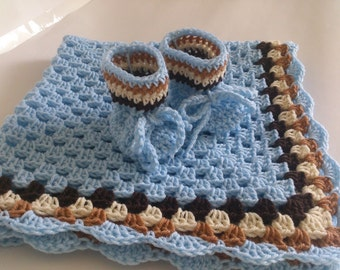 Crochet Baby Blanket / Afghan and Booties, Granny Square Blue Brown Toffi and Cream , Baby Shower Gift, Baby Boy Set