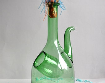 SALE! Green Glass Decanter with Ice Chamber