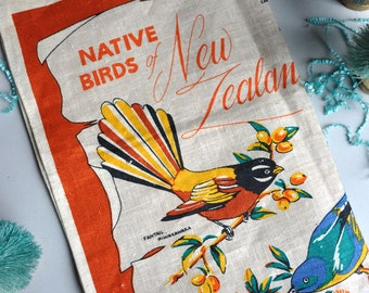 SALE! Native Birds of New Zealand - Linen Tea Towel