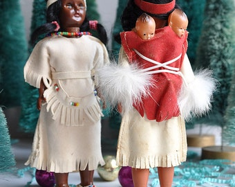 SALE! Carlson Native American Princess Papoose Dolls - Skookum