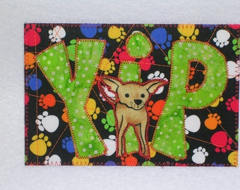 Dog Hi Hello Card Birthday Friend Family Postcard -MADE TO ORDER- Dog Love Frame Gift Housewarming Love Dogs Fabric Postcard Art 4x6