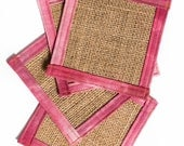 Burlap coasters with pink...