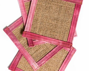 Burlap coasters, Fabric coasters, Gifts for mom