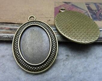 10pcs18x25 mm Antique Bronze  Cameo Cabochon Base Setting Tray Blanks Pendants Charm Pendant C7713