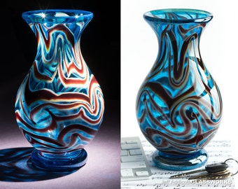 Art Glass Vase - Silver Blue and Ruby