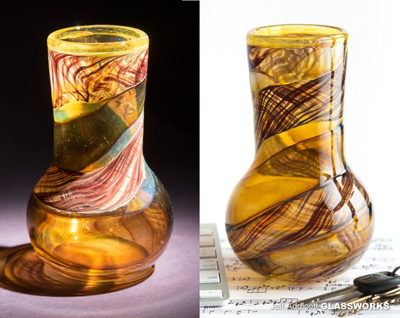 "Hand Blown Art Glass Vase - Brown Gold and Ruby Stripes with a Tall ""Chimney"" Shape"