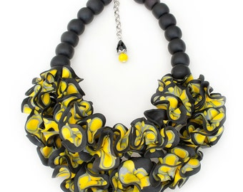 Bright Yellow and Black Statement Necklace, handmade art jewelry, Standout piece, Unique design, Best Seller