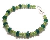 Two Tone Green Peridot and Aventurine Gemstone Bracelet