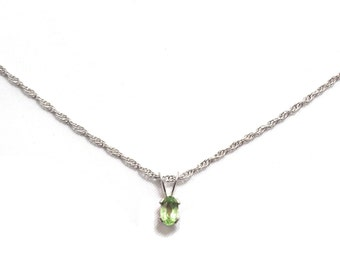 Small Peridot Pendant and Sterling Silver Necklace