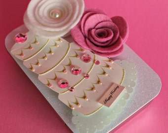 Wedding, Bridal Shower Gift Card Holder, Keepsake Mini Altered Tin, Ivory Wedding Cake