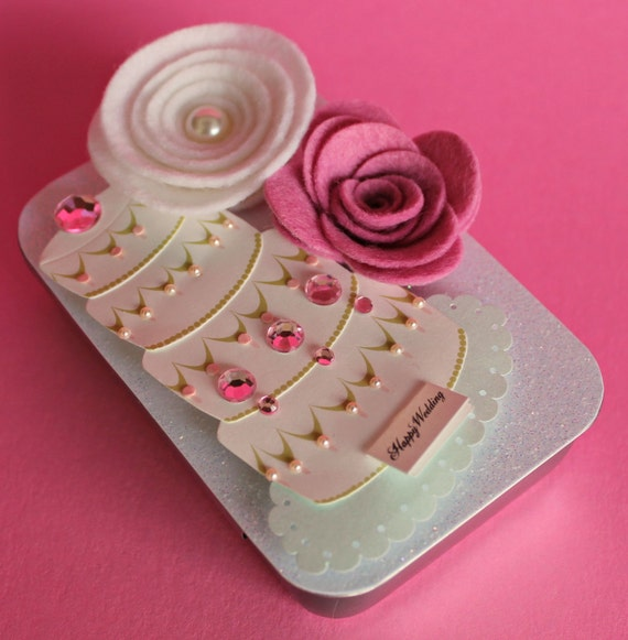 ... Shower Gift Card Holder, Keepsake Mini Altered Tin, Ivory Wedding Cake