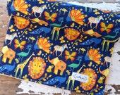 Minky Baby Blanket - Origami Pride Navy - Zoo Animals Elephant, Lion, Giraffes - Baby Boy or Girl