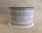 """Burlap and Lace Ribbon - 2.5"""" by 10 ft"""
