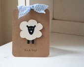Lamb Sheep Invitations Boy Baby Shower Thank You Notes Blue Gingham Kraft Rustic VIntage