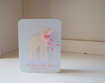 Sheep Lamb Girl Baby Shower Invitations Pink Bow Thank You Notes Vintage