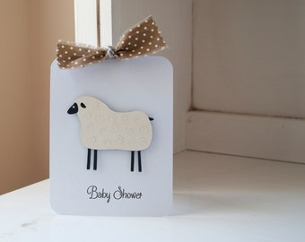 Sheep Lamb Baby Shower Invitations Neutral Thank You Notes Brown and White Polka Dots Kraft Rustic VIntage