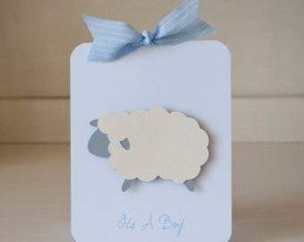 Sheep Lamb Baby Shower Invitations Boy Thank You Notes Baby Blue Gray Rustic VIntage