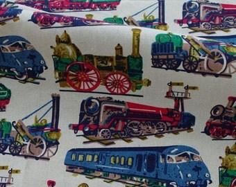 L337 -  1 meter Cotton Linen Fabric - trains (width=145cm)