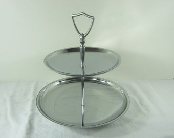 Vintage 2 TIER CHROME TIDBiT TRAY Appetizer Retro Server Pastry