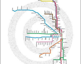"INSTANT DOWNLOAD - Chicago CTA Map, 8 x 10"" & 16 x 20"""