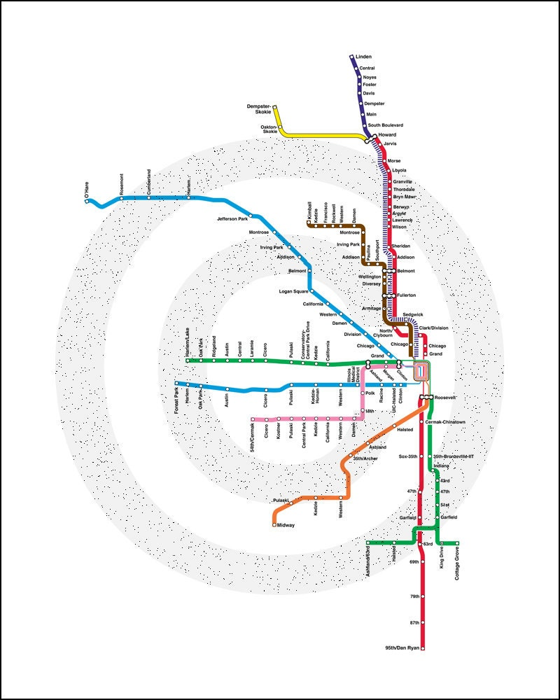 Chicago Subway Map Picture.Chicago Metro Map Dekor