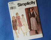 Vintage Dress and Vest Pattern - Uncut Simplicity Vintage Sewing Pattern 9799 - Misses'/Miss Petite size 12 14 16 (size P)