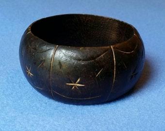 Vintage Carved Wood Wide Bangle Bracelet