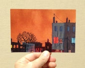 "Postcard, ""Burnt Orange Overcast"", orange sky postcard, row house postcard, 4x6 inches, high gloss, UV protection, professionally printed"