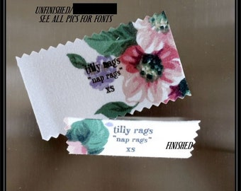 LINDSEY,Sewing Labels,Handmade in USA,10 per order/ Sew in Fabric Clothing Labels,Cotton,SizeTags