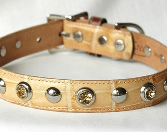 """Yellow Labrador Leather Dog Collar. Hand Set Yellow Crystal Rivets, Dog Collar Leather, Size Large -Fits and 18-21"""" Neck"""