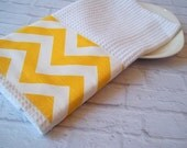Kitchen Towel Trimmed with Sunshine Yellow Chevron