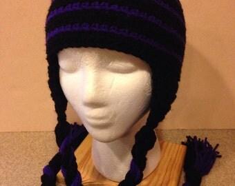 Crochet Amethyst and Black Stripped Beanie