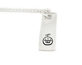 Hand Stamped Metal Sterling Silver Pendant Jewelry - Introducing Owen Orange  - Fun Series Two