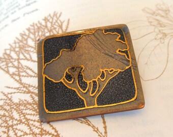 Vintage J. Perrier Enamel Brooch Modernist Tree Taupe Gray Gold 60's (item 210)