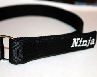 Kids Velcro Belt with D Ring Black Monogram Optional