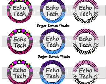 INSTANT DOWNLOAD Cute Echo Tech medical   1 inch Circle Bottlecap Images 4x6 sheet