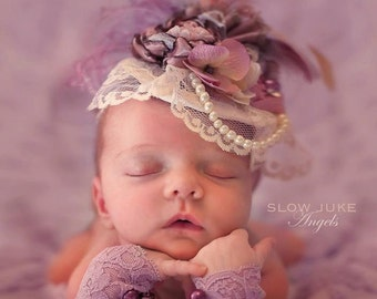 Dusty Lavender, Dusty Rose and Gray Fascinator Hat Photo Prop w/ Singed Satin Flower, Rolled Rosette, Lace Veil, Strand of Pearls, Feathers