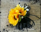 Silk mini sunflower Wrist CORSAGE bridal silk wedding flowers mother grandmother prom