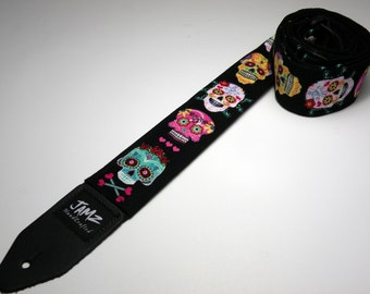 SUGAR SKULLS handmade double padded day of the dead guitar strap
