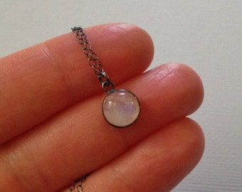 Moonstone Necklace in Oxidized Sterling Silver
