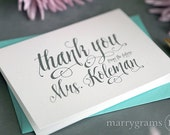 Custom Thank You Cards From the Future Mrs for Bridal Shower, Wedding, Newly Engaged Couple Gift - Fancy, Shimmer Pink, Lagoon CS12 (100ct)