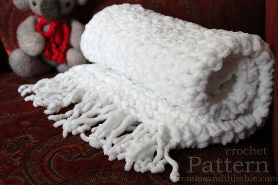 Crochet Patterns Super Bulky Yarn : Chunky Fleece Baby Blanket Super Bulky Crochet PATTERN 26 x 26/(6...