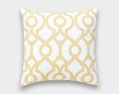 50% OFF CLEARANCE Saffron Yellow Lyon Decorative Pillow Cover. Geometric Throw Cushion. 18X18 Inches. Yellow Decorative Pillow.