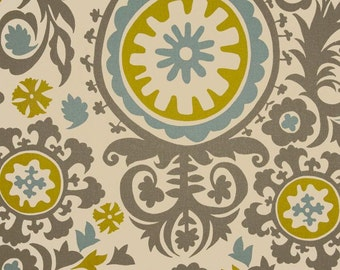 CLEARANCE Grey, Blue, Citrine Suzani. 2/3 Yard Remnant. 25 Inches in Length- Premier Prints Summerland Suzani - Fabric by the Yard