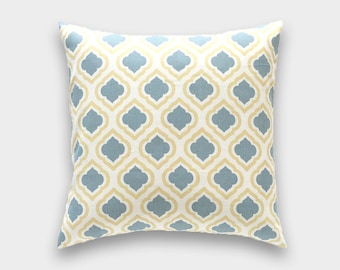 Yellow and Gray Moroccan Decorative Pillow Cover. 16x16. Saffron Yellow Throw Pillow Cover.